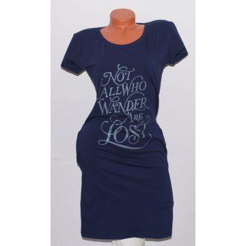 Feliratos csípőnél zsebes ruha S/M , L/XL