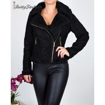 Rövid fazonú fekete velúr kabát fekete szőrmegallérral S, M, L, XL, 2XL
