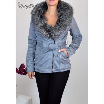 Szürke velúr kabát szürke prémmel S, M, L, XL, 2XL